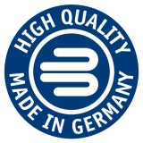 Blue circle with white text High Quality, Made in Germany